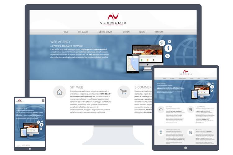Esempio del sito web responsive di Neamedia