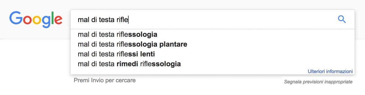 Suggerimenti nella barra di ricerca di Google