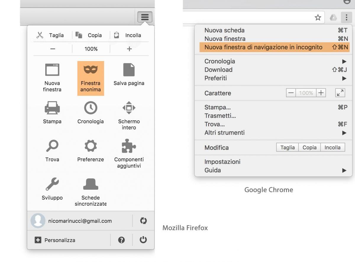 Modalità di ricerca in incognito su Firefox e Chrome
